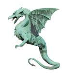 Het zijaanzicht van het draakbeeldhouwwerk over wit Royalty-vrije Stock Foto's
