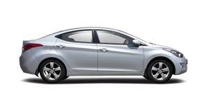 Het zijaanzicht van Hyundai Elantra op wit wordt geïsoleerd dat Stock Foto's