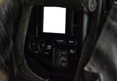 Het zijscherm van een TV-camera stock afbeeldingen