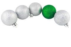 Het zilver en Groen schittert de Ornamenten van Kerstmis Royalty-vrije Stock Foto