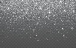 Het zilver schittert fonkeling op een transparante achtergrond De trillende achtergrond met fonkelt lichten Vector illustratie royalty-vrije illustratie