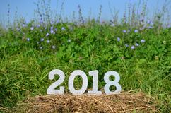 Het zilver schittert nummer 2018 Nieuwjaarachtergrond Royalty-vrije Stock Afbeeldingen