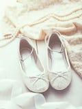 Het zilver schittert schoenen Royalty-vrije Stock Foto