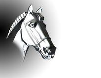 Het zilver van het het hoofdbeeldhouwwerk van het paard Royalty-vrije Stock Fotografie