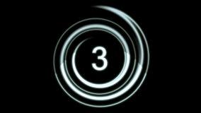 Het zilveren Aftelprocedure tellen van nummer 5 tot 0 stock footage