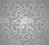 Het zilveren behang van Paisley Stock Fotografie