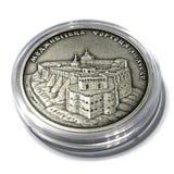 Het zilveren herdenkingskasteel van muntstukmedzhybizh van de Oekra?ne stock fotografie