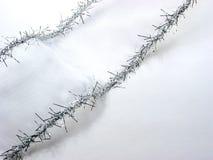 Het zilveren lint van Kerstmis op wit Royalty-vrije Stock Fotografie