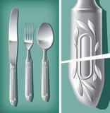Het zilveren mes van de Lepel, van de Vork en van de Lijst | Vector Wereld Royalty-vrije Stock Fotografie