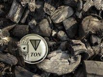 Het zilveren muntstuk van Con ligt op steenkool vector illustratie