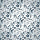 Het zilveren naadloze behang van Paisley Stock Afbeelding