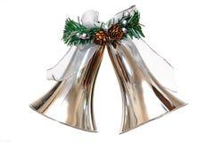 Het zilveren Ornament van Kerstmis van Klokken Stock Afbeeldingen