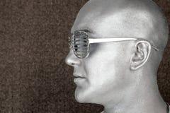 Het zilveren vreemde buitenaardse portret van het mensenprofiel Stock Foto's