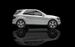 Het zilveren Zijaanzicht van SUV Royalty-vrije Stock Foto's