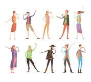 Het zingen de Reeks van de Mensenkaraoke Royalty-vrije Stock Foto's