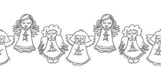 Het zingen engelen met kaarsen op wit vector illustratie