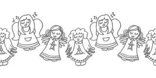 Het zingen engelen op wit royalty-vrije illustratie