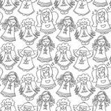 Het zingen engelen op wit naadloos patroon stock illustratie
