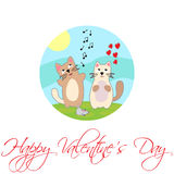 Het zingen Kat De dag van de gelukkige Valentijnskaart Vector Royalty-vrije Stock Foto's