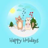 Het zingen katten en muis Gelukkige Vakantie Vector Royalty-vrije Stock Foto's