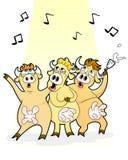 Het zingen koeien vector illustratie