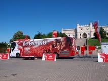 Het zingen van de hymne, Lublin, Polen royalty-vrije stock foto's
