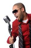 Het Zingen van de mens in Uitstekende Microfoon Stock Foto's