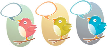 Het zingen van de vogel op boom stock illustratie