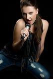 Het Zingen van de Vrouw van de muziek Stock Afbeelding