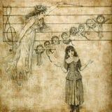Het zingen van het meisje met engel Stock Foto