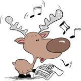 Het zingen van het rendier Kerstmislied Royalty-vrije Stock Afbeeldingen