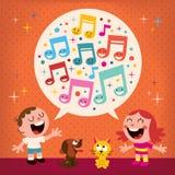 Het zingen van jonge geitjes Royalty-vrije Stock Afbeelding