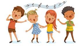 Het zingen van kinderen royalty-vrije illustratie