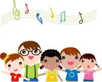 Het zingen van kinderen Stock Afbeeldingen