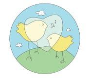 Het zingen vogels Stock Afbeeldingen