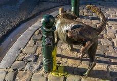 Het Zinneke - brązowa statua peeing pies obrazy royalty free