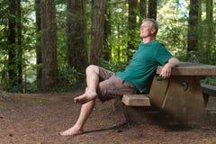 Het zitten bij een picknicklijst in het bos Stock Afbeelding