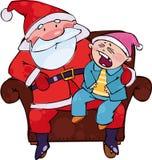 Het zitten met Kerstman Royalty-vrije Stock Fotografie