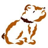 Het zitten van trotse hond met rimpels, kraag, contour vector illustratie
