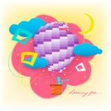 Het zoeken Fee die in een ballon vliegen royalty-vrije illustratie