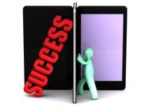 Het zoeken naar succes in smartphonetabletten Stock Foto