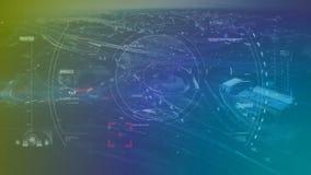 Het zoeken van target die tegen cityscape moving vector illustratie