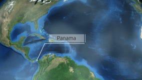 Het zoemen door ruimte aan een land op de bol in de animatie van Midden-Amerika - Panama - Beeldhoffelijkheid van NASA vector illustratie