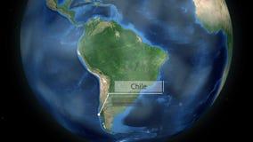 Het zoemen door ruimte aan een land op de bol in de animatie van Zuid-Amerika - het Beeldhoffelijkheid van Chili van NASA royalty-vrije illustratie