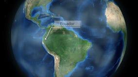 Het zoemen door ruimte aan een land op de bol in de animatie van Zuid-Amerika - het Beeldhoffelijkheid van Ecuador van NASA royalty-vrije illustratie