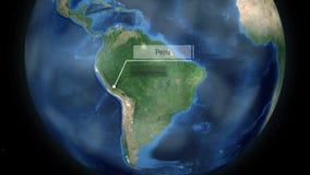 Het zoemen door ruimte aan een land op de bol in de animatie van Zuid-Amerika - Peru - Beeldhoffelijkheid van NASA stock illustratie