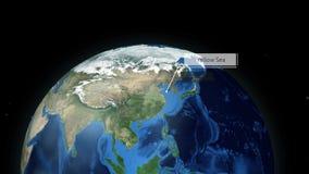 Het zoemen door ruimte aan een plaats in Bolanimatie - Gele Overzees - Beeldhoffelijkheid van NASA stock illustratie