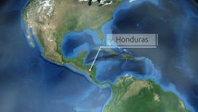 Het zoemen door ruimte aan een plaats in de animatie van Midden-Amerika - Honduras - Beeldhoffelijkheid van NASA stock illustratie