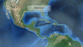 Het zoemen door ruimte aan een plaats in de animatie van Midden-Amerika - Mexico - Beeldhoffelijkheid van NASA royalty-vrije illustratie