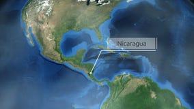 Het zoemen door ruimte aan een plaats in de animatie van Midden-Amerika - Nicaragua - Beeldhoffelijkheid van NASA stock illustratie